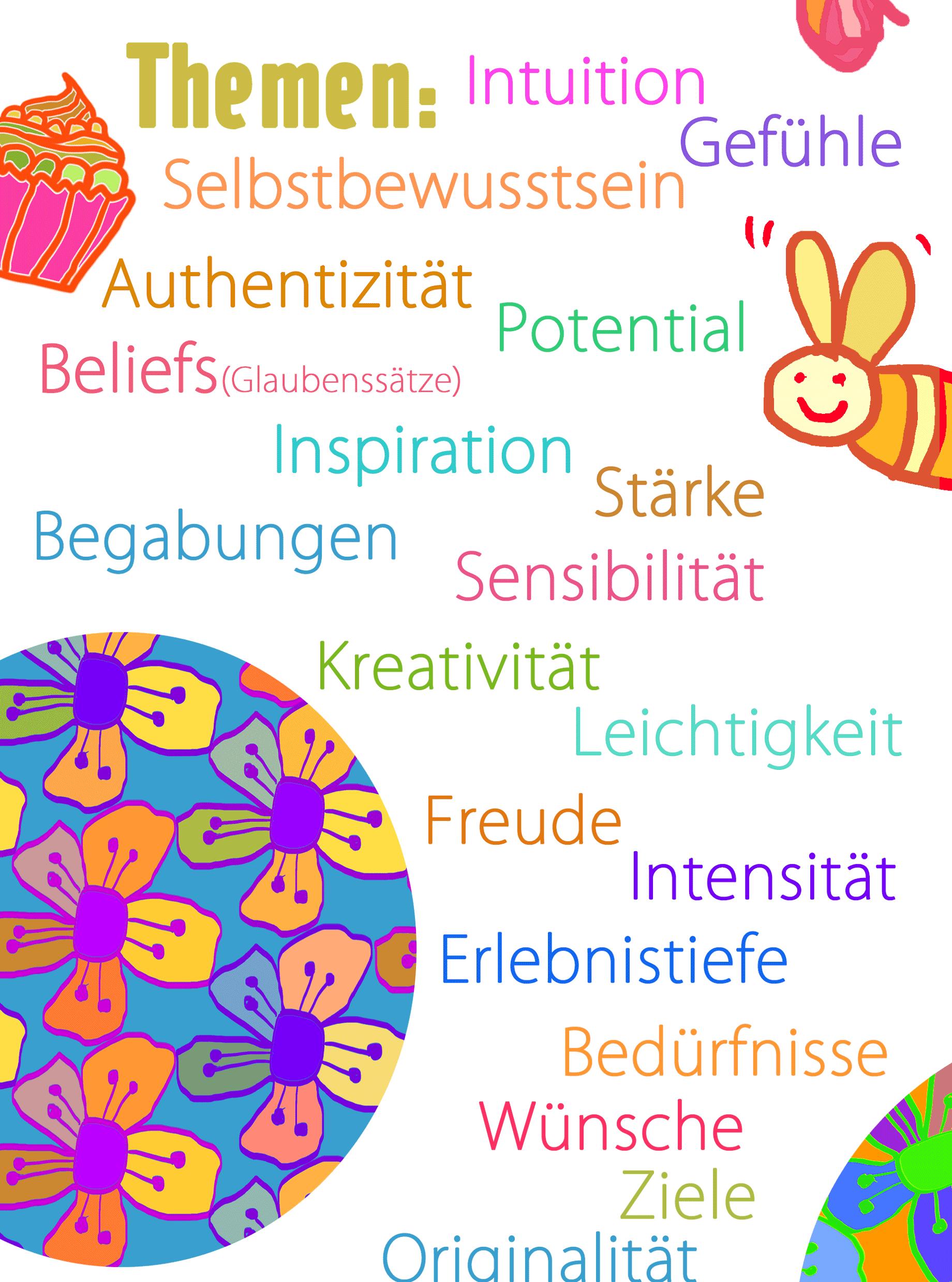 Themen: Intuition, Gefühle, Selbstbewusstsein, Authentizität, Potential, Beliefs (Glaubenssätze), Inspiration, Stärke, Begabungen, Sensibilität, Kreativität, Leichtigkeit, Freude, Intensität, Erlebnistiefe, Bedürfnisse, Wünsche, Ziele, Originalität